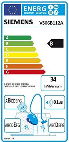 Siemens VS06B112A Bodenstaubsauger synchropower EEK B (mit Beutel, highPower-Motor, PowerProtect System, Hartbodendüse), 700 W, schwarz - 2