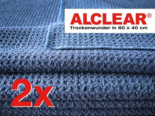 2er Set ALCLEAR Microfasertuch Trockenwunder - zieht Wasser wie ein Magnet - perfekt für Auto, Autolacke, Motorrad und Küche - superweiche Premium-Qualität für besten Werterhalt - 60x40 cm dkl.blau - 2