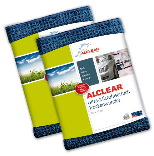 2er Set ALCLEAR Microfasertuch Trockenwunder - zieht Wasser wie ein Magnet - perfekt für Auto, Autolacke, Motorrad und Küche - superweiche Premium-Qualität für besten Werterhalt - 60x40 cm dkl.blau - 1
