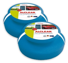 ALCLEAR 5713050M 2-er Set Profi Handpolierschwamm 130 x 50 mm mit umlaufender Griffleiste für Wachse, Polituren, Lackreiniger, blau - 1