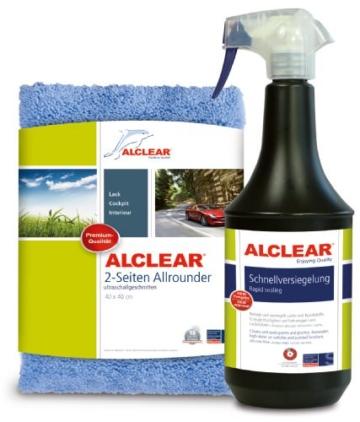 ALCLEAR 71100SV Schnellversiegelung 1 Liter inklusive ALCLEAR Poliertuch 2-Seiten Allrounder 40 x 40 cm für Auto, Motorrad, Fahrrad - 1