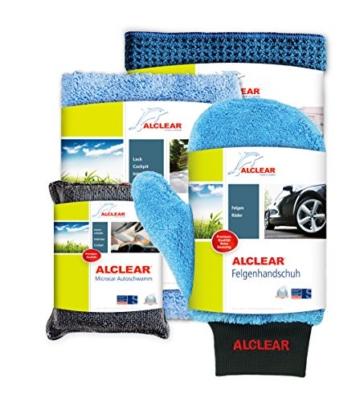 ALCLEAR 8201000 Profi Autopflegeset 4teilig bestehend aus Trockenwunder, 2-Seiten Allrounder, Felgenhandschuh sowie Microcar Autoschwamm - 1
