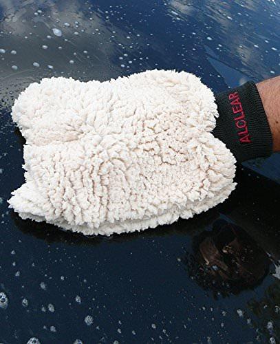 ALCLEAR 950013WH Premium Waschhandschuh, weiß mit schwarzem Bündchen, extra flauschig - 2