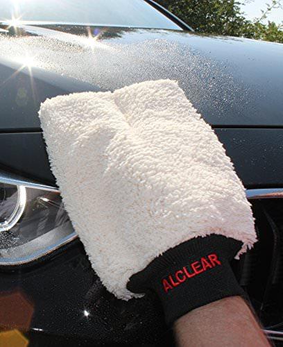 ALCLEAR 950013WH Premium Waschhandschuh, weiß mit schwarzem Bündchen, extra flauschig - 3