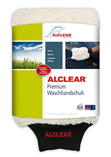 ALCLEAR 950013WH Premium Waschhandschuh, weiß mit schwarzem Bündchen, extra flauschig - 1