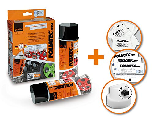 Foliatec 2060 Sprühfolie, Doppelpack für 4 Felgen inkl. Zubehör, 2x400 ml, Schwarz Matt - 2