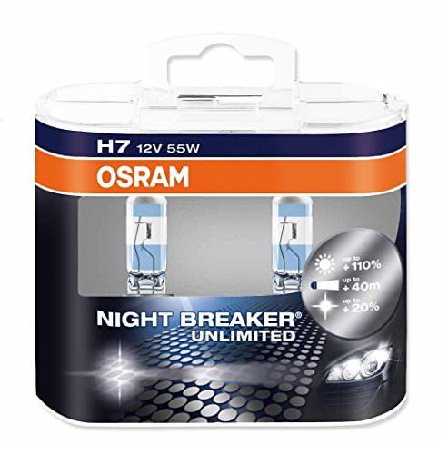 OSRAM NIGHT BREAKER UNLIMITED H7, Halogen-Scheinwerferlampe, 64210NBU-HCB, 12V PKW, Duobox (2 Stück) - 1