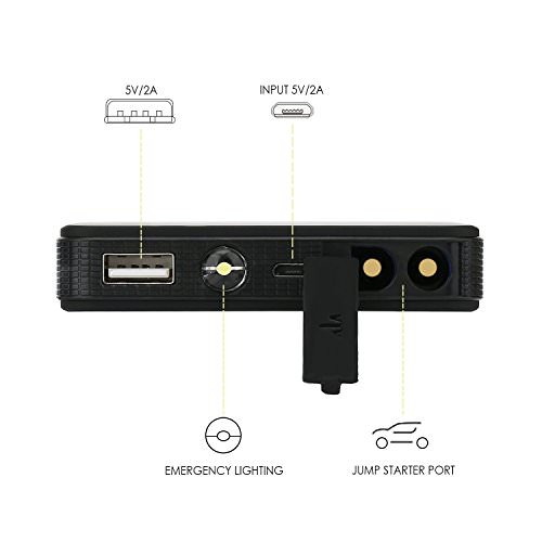 SNAN 6000mAh Auto Starthilfe 400A Spitzenstrom Tragbare Externer Akku mit 5V/2A USB Anschluss, LED Taschenlampe Schwarz - 3