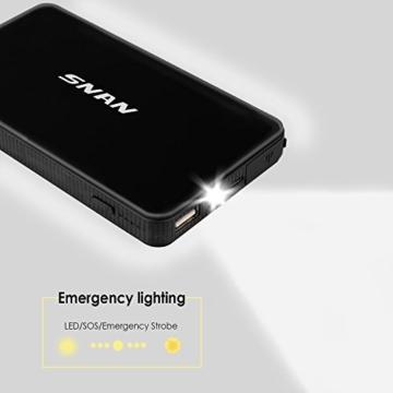 SNAN 6000mAh Auto Starthilfe 400A Spitzenstrom Tragbare Externer Akku mit 5V/2A USB Anschluss, LED Taschenlampe Schwarz - 4