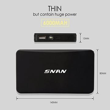 SNAN 6000mAh Auto Starthilfe 400A Spitzenstrom Tragbare Externer Akku mit 5V/2A USB Anschluss, LED Taschenlampe Schwarz - 5