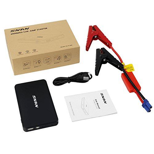 SNAN 6000mAh Auto Starthilfe 400A Spitzenstrom Tragbare Externer Akku mit 5V/2A USB Anschluss, LED Taschenlampe Schwarz - 6