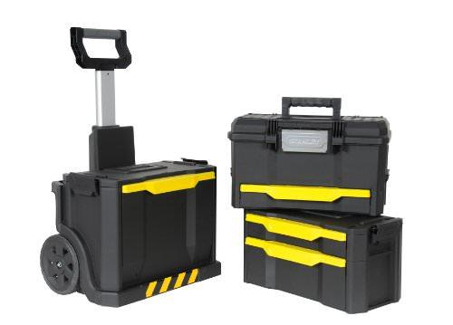 Stanley Rollende Werkstatt, modular aufgebaut mit drei entnehmbaren Werkzeugboxen und robusten 7 Zoll Schwerlast-Rädern, 1-79-206 - 2