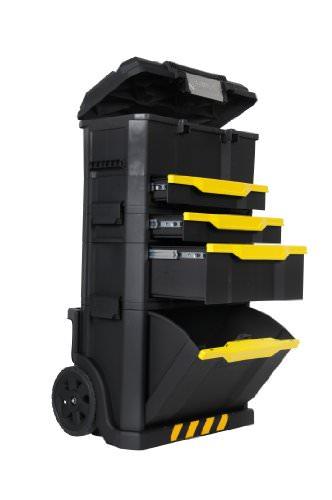 Stanley Rollende Werkstatt, modular aufgebaut mit drei entnehmbaren Werkzeugboxen und robusten 7 Zoll Schwerlast-Rädern, 1-79-206 - 1