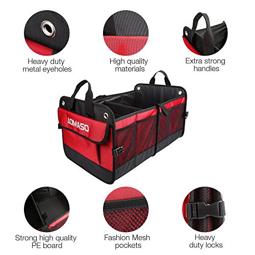 Aomaso Autos Kofferraum Organizer Nylon faltbare Design für alle Fahrzeuge Autos und Haus mit Warndreieck -