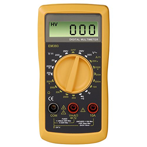 Hama Digital Multimeter EM393B (Messung von Spannung, Strom, Widerstand) schwarz/gelb -