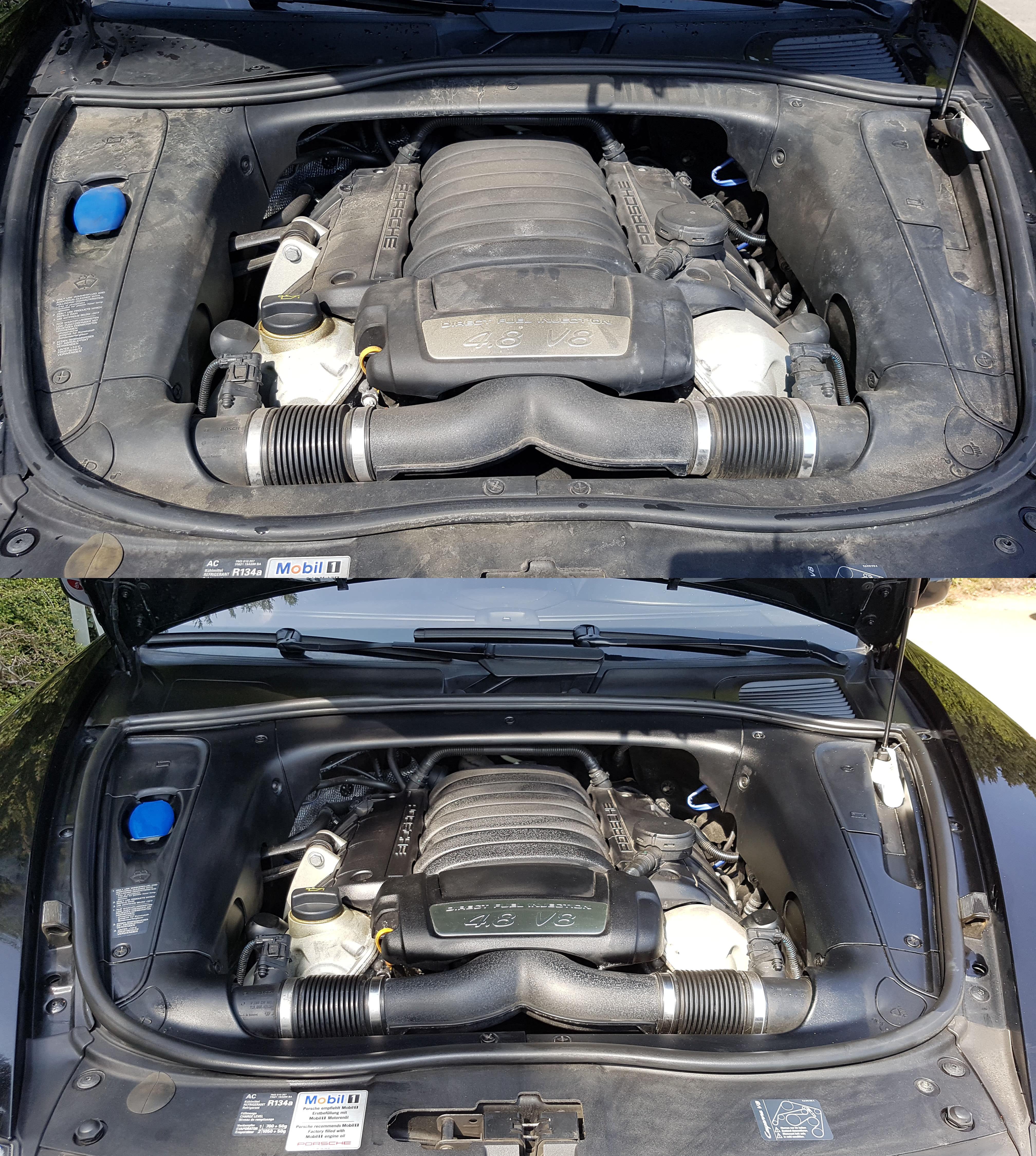 Porsche Motorraum Reinigung