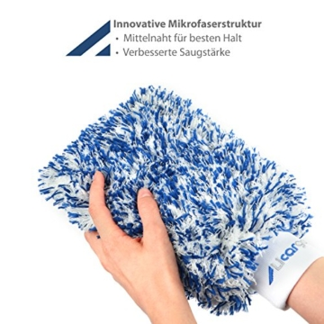 Licargo Premium Autowaschhandschuh aus saugfähigster Mikrofaser - Makelloser Auto- und Felgenhandschuh zur Autoreinigung und Autoaufbereitung - Tausende begeisterte Kunden (Blau) - 3
