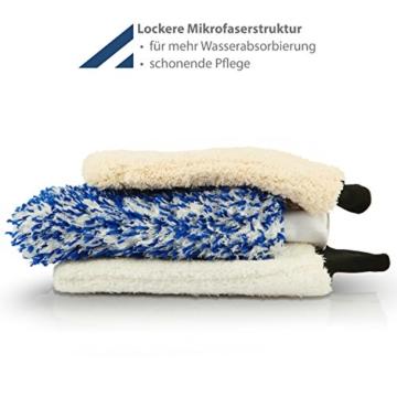 Licargo Premium Autowaschhandschuh aus saugfähigster Mikrofaser - Makelloser Auto- und Felgenhandschuh zur Autoreinigung und Autoaufbereitung - Tausende begeisterte Kunden (Blau) - 4
