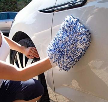 Licargo Premium Autowaschhandschuh aus saugfähigster Mikrofaser - Makelloser Auto- und Felgenhandschuh zur Autoreinigung und Autoaufbereitung - Tausende begeisterte Kunden (Blau) - 6