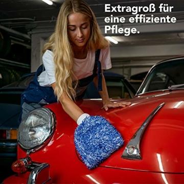 OTARU Hochwertiger Waschhandschuh - Auto & Motorrad - Extragroße Reinigungsfläche (Innovative Fasertechnologie) Besondere Saugstärke - 4