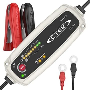 CTEK MXS 5.0 Vollautomatisches Ladegerät (Optimale Ladung, Unterhaltungsladung und Instandsetzung von Auto- und Motorradbatterien) 12V, 5 Amp. – EU Stecker - 1