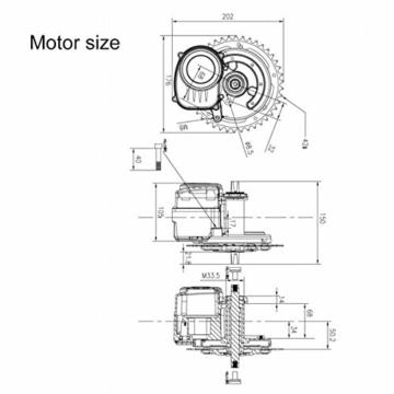 HANERIDE Tongsheng TSDZ2 250W 36V Zentralmotor Umbaukit eBike Brushless Motor - 3
