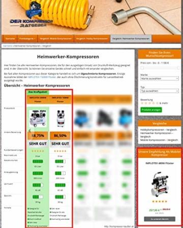 1500W 2PS Silent Flüsterkompressor Druckluftkompressor 60dB leise ölfrei flüster Kompressor Compressor IMPLOTEX - 7