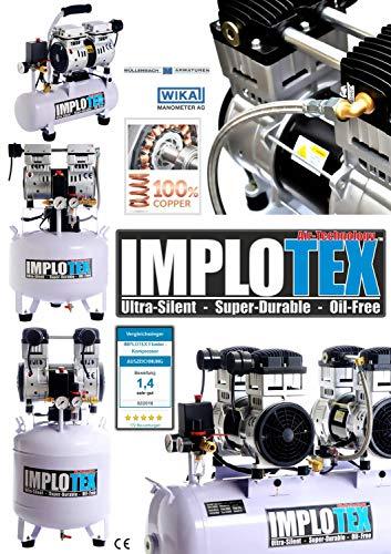 3000W 4PS Silent Flüsterkompressor Druckluftkompressor Kompressor 65dB leise ölfrei inkl. Ausblaspistole und Druckluftschlauch IMPLOTEX - 2
