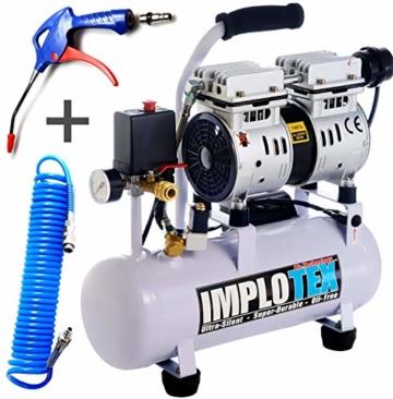 480W Silent Flüsterkompressor Druckluftkompressor 48dB leise ölfrei Kompressor inkl. Ausblaspistole und Druckluftschlauch IMPLOTEX - 1