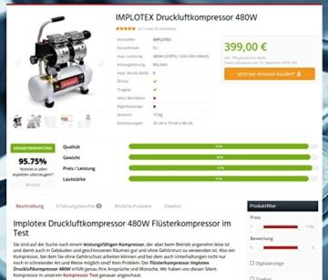 480W Silent Flüsterkompressor Druckluftkompressor nur 48dB leise ölfrei flüster Kompressor Compressor IMPLOTEX - 9