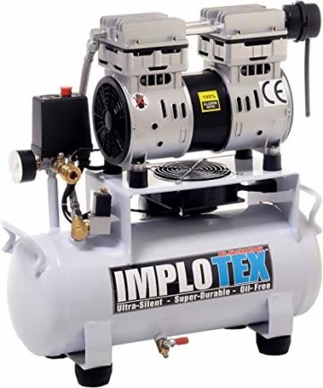850W 14L Silent Flüsterkompressor Druckluftkompressor nur 55dB leise ölfrei flüster Kompressor Compressor IMPLOTEX - 2