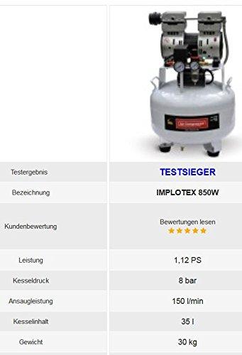 850W 14L Silent Flüsterkompressor Druckluftkompressor nur 55dB leise ölfrei flüster Kompressor Compressor IMPLOTEX - 4