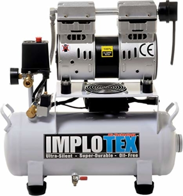 850W 14L Silent Flüsterkompressor Druckluftkompressor nur 55dB leise ölfrei flüster Kompressor Compressor IMPLOTEX - 1