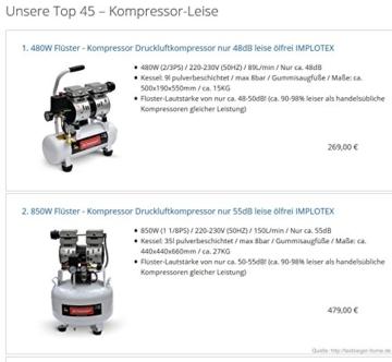 850W 14L Silent Flüsterkompressor Druckluftkompressor nur 55dB leise ölfrei flüster Kompressor Compressor IMPLOTEX - 7