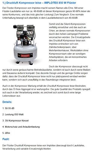 850W 14L Silent Flüsterkompressor Druckluftkompressor nur 55dB leise ölfrei flüster Kompressor Compressor IMPLOTEX - 8
