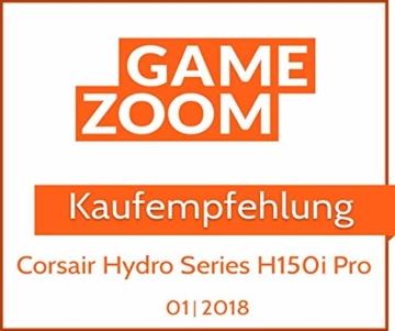 CORSAIR Hydro Series H150i PRO RGB CPU-Flüssigkeitskühlung (360-mm-Radiator, drei ML Series 120-mm-PWM-Lüfter, RGB-Beleuchtung und Lüfter, Intel 115x/2066 und AMD AM4 kompatibel) - 17