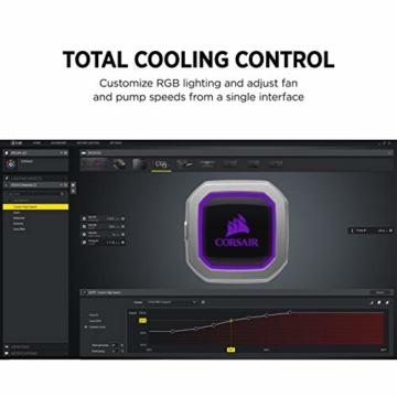 CORSAIR Hydro Series H150i PRO RGB CPU-Flüssigkeitskühlung (360-mm-Radiator, drei ML Series 120-mm-PWM-Lüfter, RGB-Beleuchtung und Lüfter, Intel 115x/2066 und AMD AM4 kompatibel) - 4