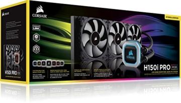 CORSAIR Hydro Series H150i PRO RGB CPU-Flüssigkeitskühlung (360-mm-Radiator, drei ML Series 120-mm-PWM-Lüfter, RGB-Beleuchtung und Lüfter, Intel 115x/2066 und AMD AM4 kompatibel) - 10