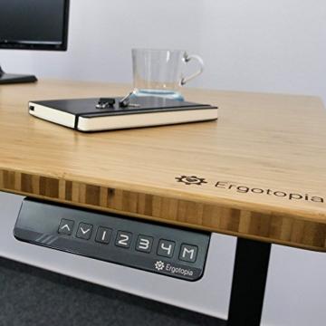 Ergotopia® Elektrisch höhenverstellbarer Schreibtisch | 5 Jahre Garantie | Ergonomischer Steh-Sitz Tisch mit Memory Funktion | Beugt Rückenschmerzen vor & Macht produktiver (180x80, Echtholz Bambus) - 4