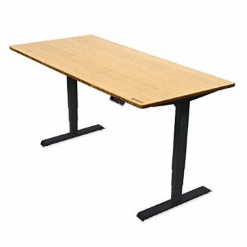 Ergotopia® Elektrisch höhenverstellbarer Schreibtisch | 5 Jahre Garantie | Ergonomischer Steh-Sitz Tisch mit Memory Funktion | Beugt Rückenschmerzen vor & Macht produktiver (180x80, Echtholz Bambus) - 1