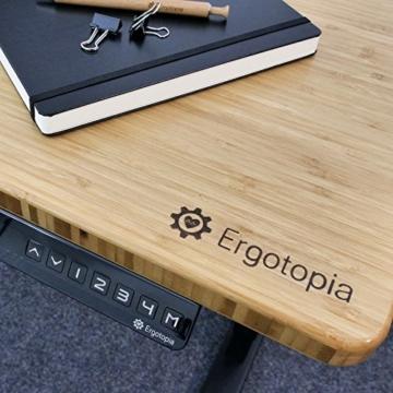 Ergotopia® Elektrisch höhenverstellbarer Schreibtisch | 5 Jahre Garantie | Ergonomischer Steh-Sitz Tisch mit Memory Funktion | Beugt Rückenschmerzen vor & Macht produktiver (180x80, Echtholz Bambus) - 5