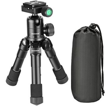Neewer Tragbares Kompakt Desktop Makro Mini-Stativ mit 360-Grad-Kugelkopf, 1/4 Schnellwechselplatte, Tasche für DSLR Kamera, Video Camcorder bis zu 5 Kilogramm (50cm,Schwarz) - 2