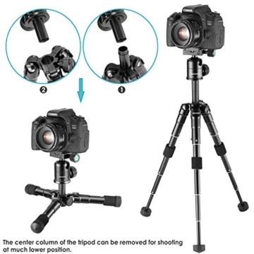 Neewer Tragbares Kompakt Desktop Makro Mini-Stativ mit 360-Grad-Kugelkopf, 1/4 Schnellwechselplatte, Tasche für DSLR Kamera, Video Camcorder bis zu 5 Kilogramm (50cm,Schwarz) - 3
