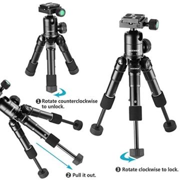 Neewer Tragbares Kompakt Desktop Makro Mini-Stativ mit 360-Grad-Kugelkopf, 1/4 Schnellwechselplatte, Tasche für DSLR Kamera, Video Camcorder bis zu 5 Kilogramm (50cm,Schwarz) - 7