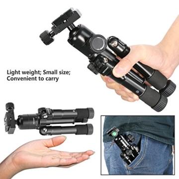 Neewer Tragbares Kompakt Desktop Makro Mini-Stativ mit 360-Grad-Kugelkopf, 1/4 Schnellwechselplatte, Tasche für DSLR Kamera, Video Camcorder bis zu 5 Kilogramm (50cm,Schwarz) - 8