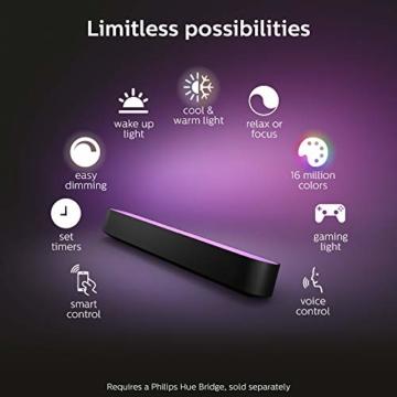 Philips Hue White and Color Ambiance Play Lightbar Doppelpack, dimmbar, bis zu 16 Millionen Farben, steuerbar via App, kompatibel mit Amazon Alexa, schwarz - 3