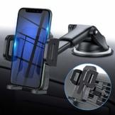 miracase MOVING LIFE Handyhalterung Auto, 3 in 1 KFZ Handy Halterung, mit Saugnapf Lüftung Handyhalter, 360° drehbare Autohalterung Silikon Schutz für iPhone, Samsung, Huawei, Sony, One Plus usw - 1