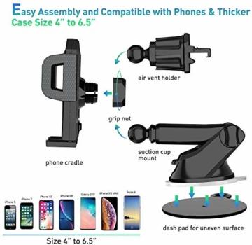 miracase MOVING LIFE Handyhalterung Auto, 3 in 1 KFZ Handy Halterung, mit Saugnapf Lüftung Handyhalter, 360° drehbare Autohalterung Silikon Schutz für iPhone, Samsung, Huawei, Sony, One Plus usw - 3