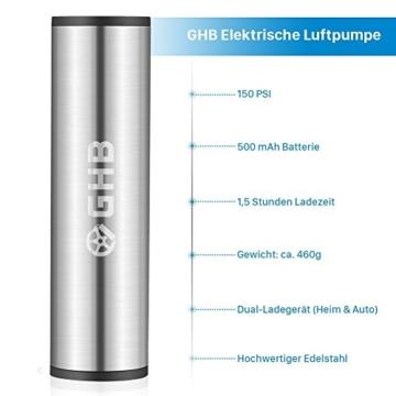 GHB Mini Auto-Luftpumpe Elektrischer Luftverdichter für Fahrrad Ball Ballon 150 PSI Portabel Aufladbar mit LCD-Display (Verpackung MEHRWEG) - 4