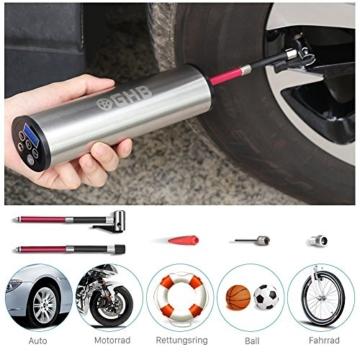 GHB Mini Auto-Luftpumpe Elektrischer Luftverdichter für Fahrrad Ball Ballon 150 PSI Portabel Aufladbar mit LCD-Display (Verpackung MEHRWEG) - 1